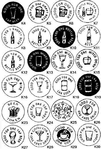 Drink and Game Tokens: Custom Imprinted Plastic Tokens, Wooden